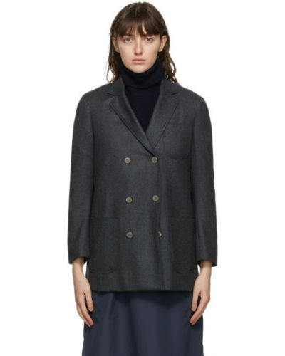 Шелковый удлиненный пиджак с заплатками с воротником с подкладкой Thom Browne