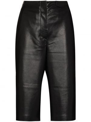 Кожаные шорты - черные Nanushka