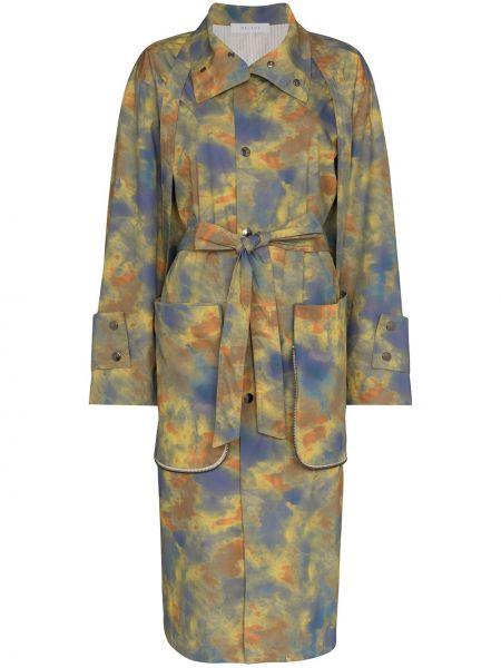 Зеленое пальто с воротником на пуговицах с карманами Delada