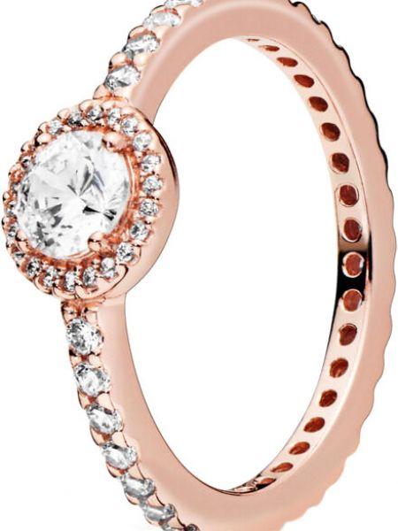 Белое кольцо металлическое позолоченное с камнями Pandora
