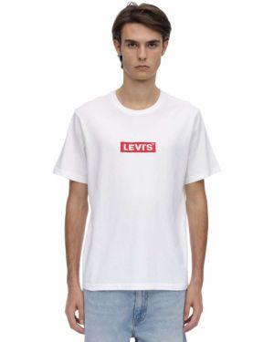 Biały t-shirt bawełniany z haftem Levi's Red Tab