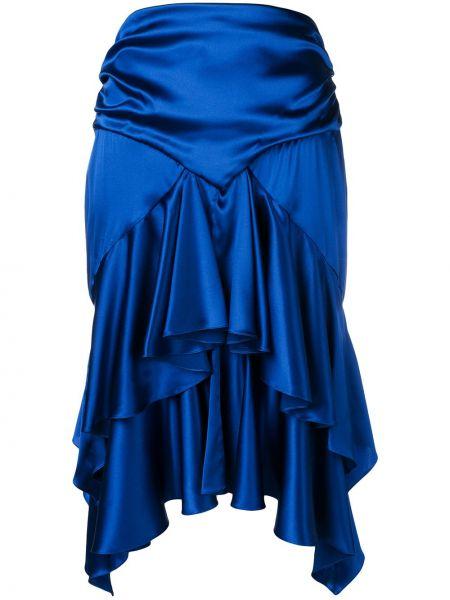 С завышенной талией синяя юбка с оборками Alexandre Vauthier