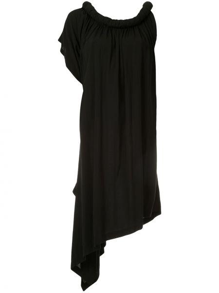 Черное платье винтажное из вискозы с декоративной отделкой Yohji Yamamoto Pre-owned