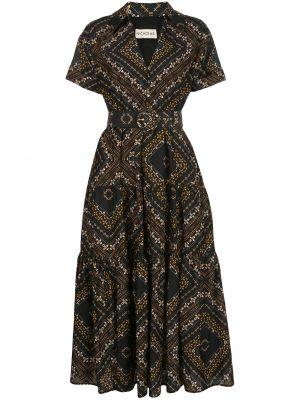Шелковое классическое платье миди на пуговицах с воротником Nicholas