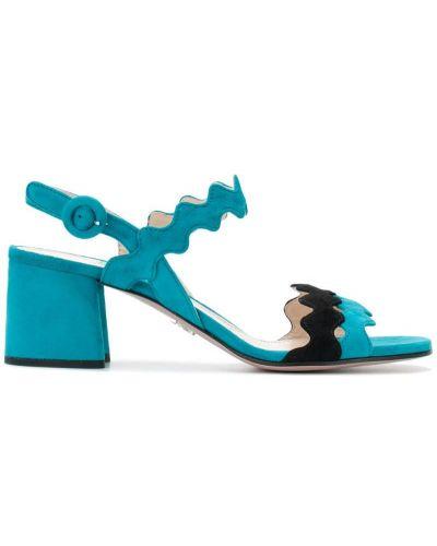 Синие кожаные босоножки на каблуке Prada