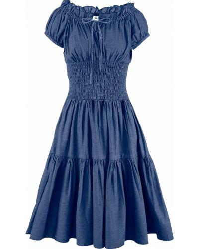 Джинсовое платье с вырезом с завязками эластичное Bonprix