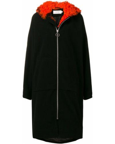 Шерстяное черное длинное пальто с капюшоном Marques'almeida