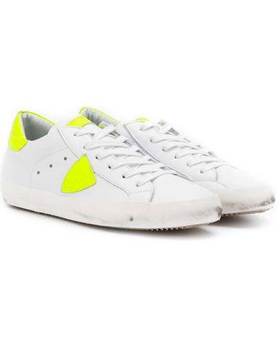 Кожаные белые кроссовки с перфорацией на шнуровке Philippe Model Kids