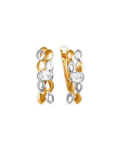 Золотые серьги с фианитом кюз дельта