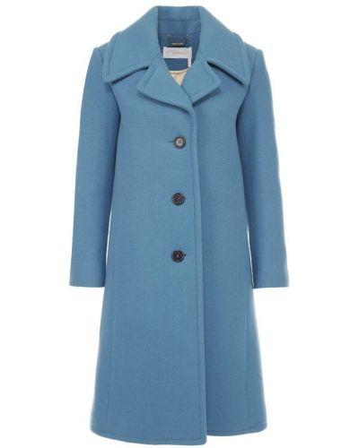 Кожаное пальто шерстяное с воротником Chloé