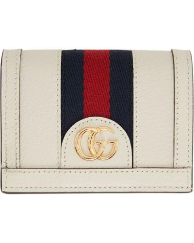 Biały skórzany portfel prążkowany z gniazdem Gucci