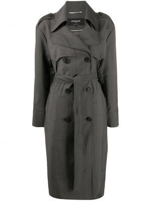 Płaszcz wełniany z paskiem z długimi rękawami Rochas
