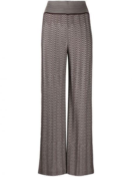 Трикотажные с завышенной талией коричневые брюки Missoni