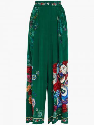 Шелковые зеленые брюки с карманами Camilla