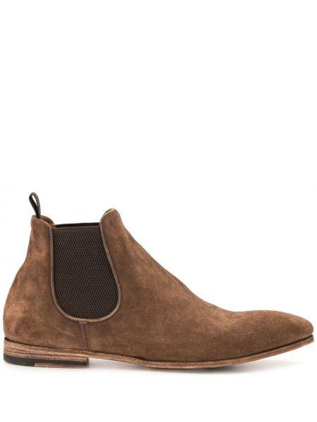 Brązowy buty skórzane z prawdziwej skóry na pięcie Officine Creative
