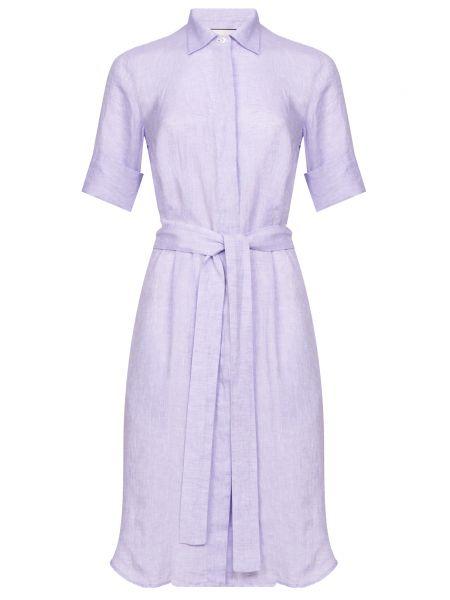 Фиолетовое приталенное платье на пуговицах с поясом Bagutta