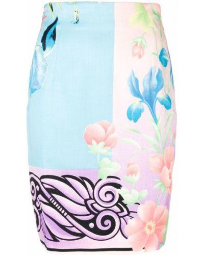 Юбка мини с завышенной талией с цветочным принтом Versace Vintage