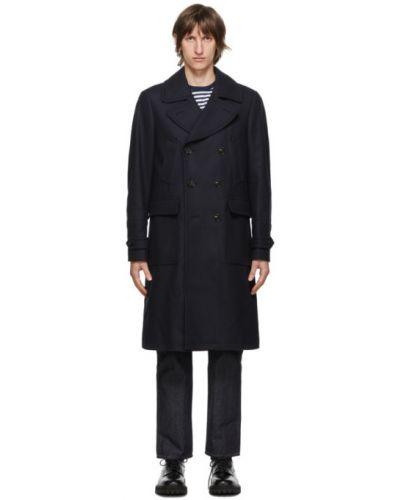 Czarny wełniany długi płaszcz z kołnierzem z długimi rękawami Belstaff