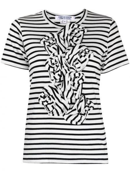 Хлопковая белая футболка в полоску Comme Des Garçons Comme Des Garçons