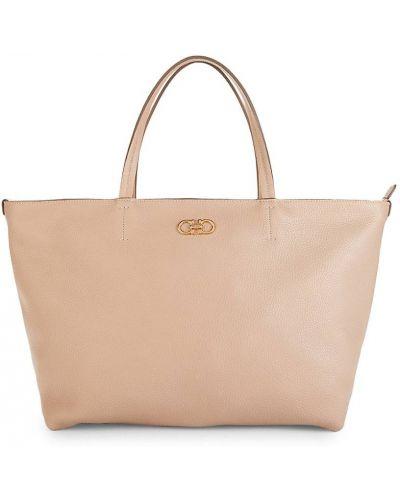 Розовый кожаный ранец с карманами Salvatore Ferragamo