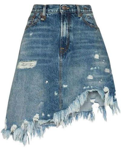 Niebieska spódnica asymetryczna R13