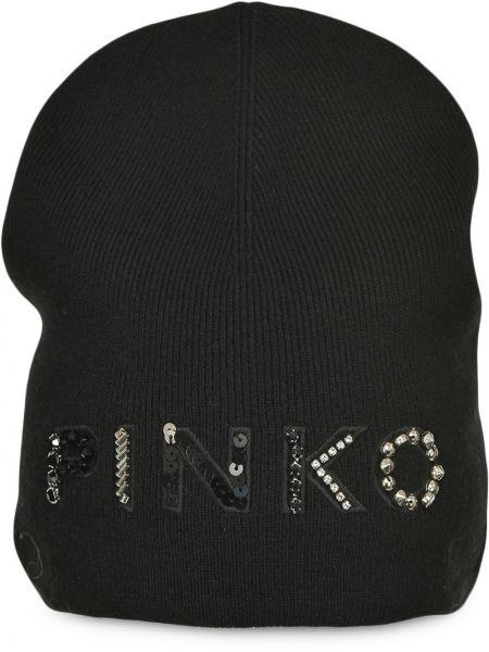 Prążkowana czarna czapka wełniana Pinko