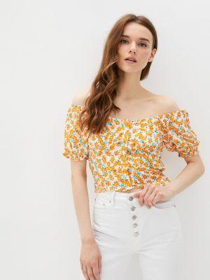 Оранжевая блузка с короткими рукавами Defacto