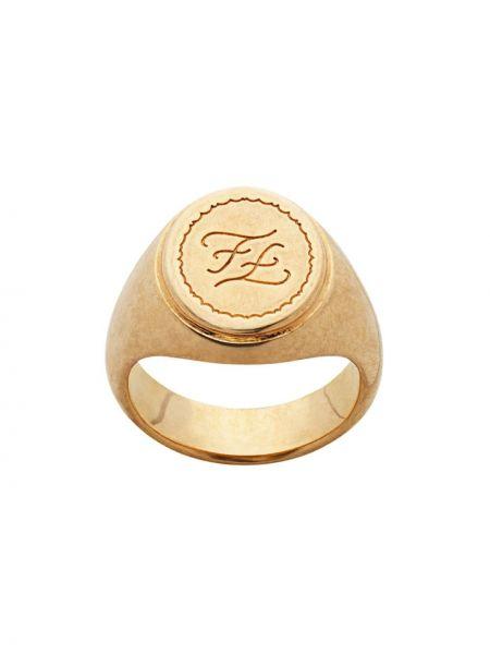 Złoty pierścionek vintage Fendi