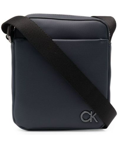 Синяя сумка через плечо на молнии с подкладкой Calvin Klein