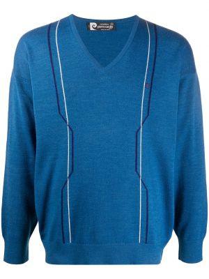 С рукавами шерстяной синий джемпер с V-образным вырезом Pierre Cardin Pre-owned