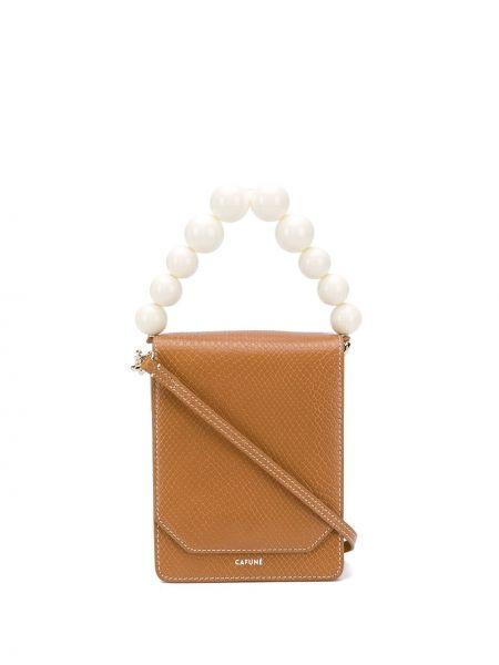Brązowa torebka skórzana perły Cafuné
