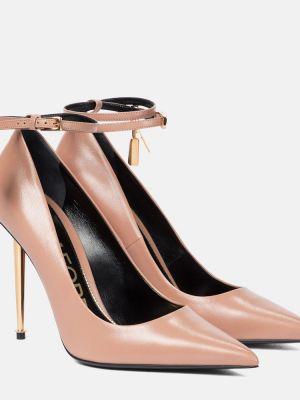 Кожаные розовые туфли-лодочки Tom Ford