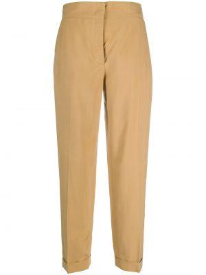 Шелковые бежевые брюки с карманами с высокой посадкой Salvatore Ferragamo