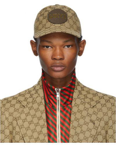 Bawełna brązowy czapka z daszkiem prążkowany z łatami Gucci