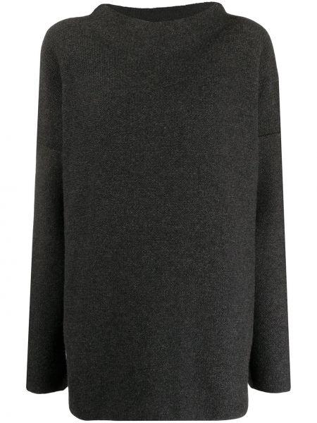 Шерстяной серый вязаный свитер с воротником Daniela Gregis