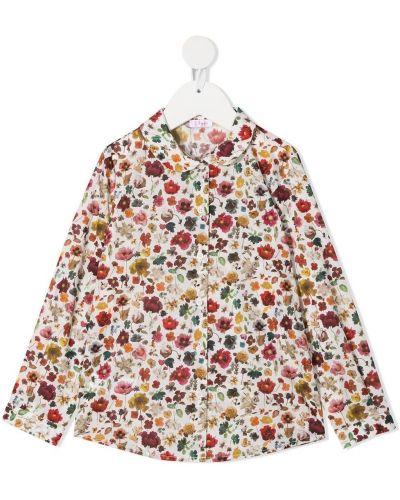 Серая блузка с воротником в цветочный принт Gcds Kids
