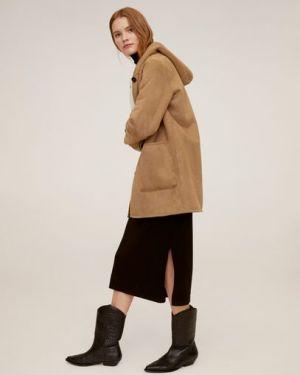 Пальто с капюшоном из овчины замшевое Mango