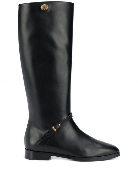 Kozaki skórzane - czarne Gucci