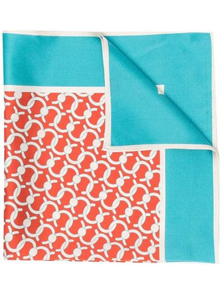 Niebieski szalik z jedwabiu z printem Cafuné