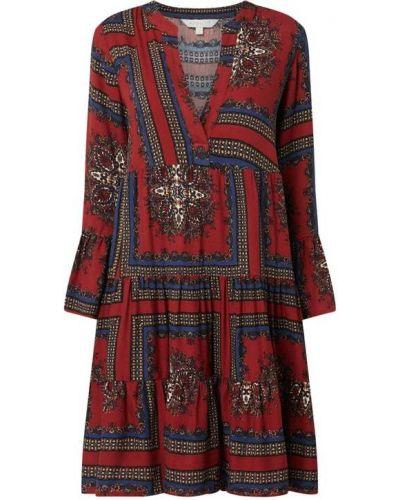 Sukienka rozkloszowana z falbanami z wiskozy Apricot