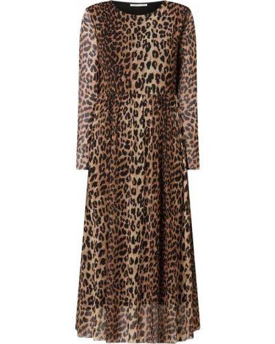 Brązowa sukienka rozkloszowana z długimi rękawami Catwalk Junkie