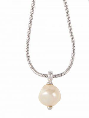 Biały naszyjnik srebrny Christian Dior