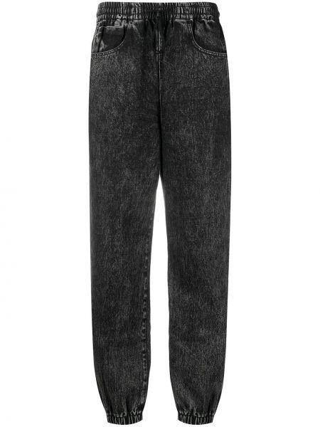 Хлопковые черные прямые джинсы эластичные на шнурках T By Alexander Wang