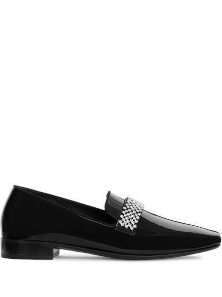 Skórzany czarny loafers plac płaska podeszwa Giuseppe Zanotti