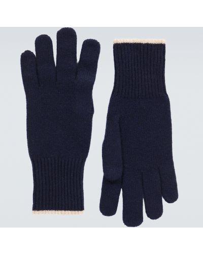 Prążkowane z kaszmiru niebieskie rękawiczki Brunello Cucinelli