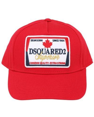 Z paskiem baseball kapelusz z haftem z gabardyny Dsquared2