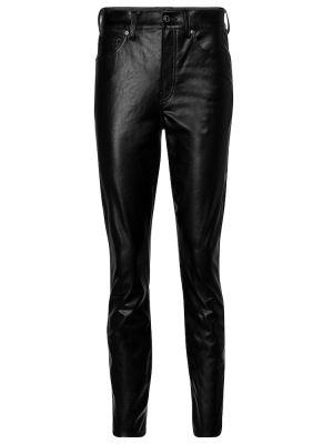 Кожаные зауженные черные брюки с разрезом Veronica Beard