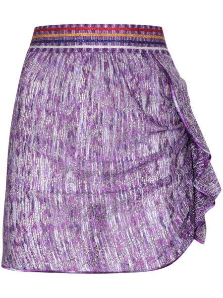 Приталенная фиолетовая юбка мини с оборками из вискозы Missoni Mare