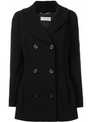 Шерстяной черный прямой пиджак винтажный Dolce & Gabbana Pre-owned