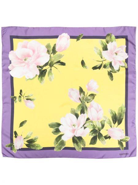 Желтый шелковый платок с отворотом Valentino